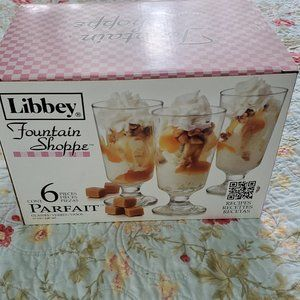 NIB Libbey FountainShoppe Parfait Glasses Set of 6